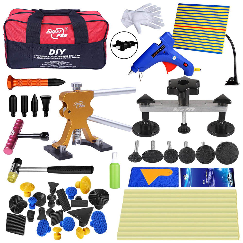 PDR Tools Kit Paintless Dent Repair Tool Set for Car body dent removal tools bag Glue Puller dent lifter Glue Gun hand Tools pdr tools for car kit dent lifter glue tabs suction cup hot melt glue sticks paintless dent repair tools hand tools set