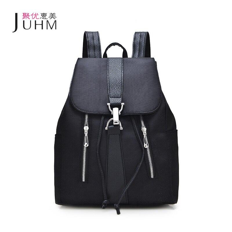 JUHM Brand New Schoolbag font b Backpack b font font b Women b font Black Waterproof