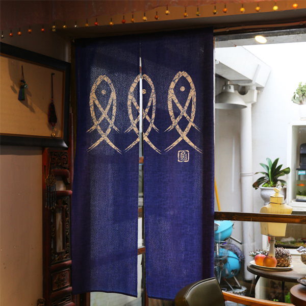 Nizza Japanischen stil tür vorhang blau FISCH vorhänge schlafzimmer ...