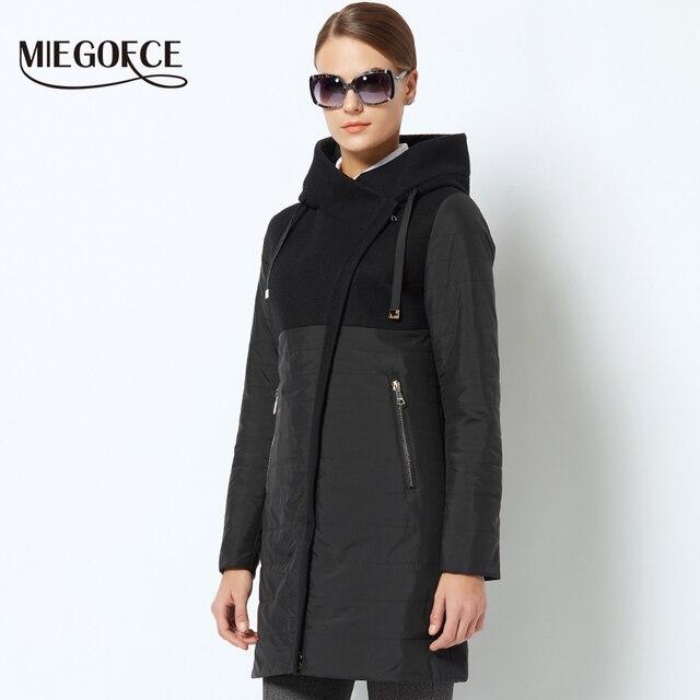 MIEGOFCE 2018 Весеннее женское пальто с кривой молнией сделано с двумя материалами женское стеганое пальто Новая коллекция тонкая хлопчатобумажная куртка
