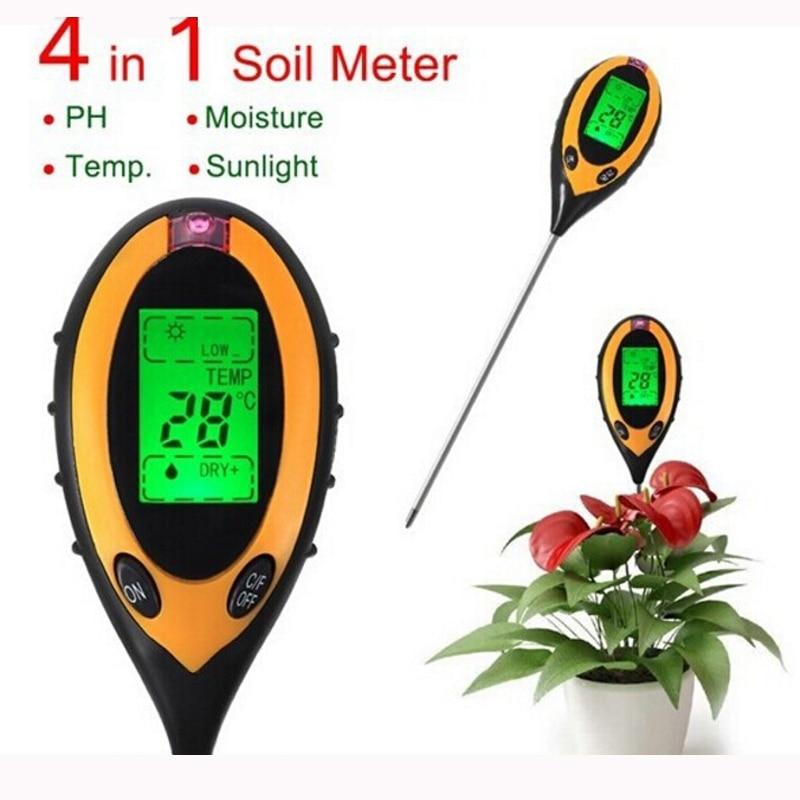 4 in 1 Digital Garden Plant Flower Sunlight Moisture Temp PH Tester Meter Soil Survey Instrument Analyzer Tools AMT 300