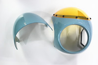 Cafe racer fairing with blue seat cover Retro motorcycle headlight fairing mirrors hood Vintage UNIVERSAL FIT 7 HEADLIGHT