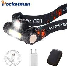 Портативный Миниатюрный светодиодный налобный фонарь XPE + COB, головсветильник светодиодный фонарь со встроенным аккумулятором для кемпинга