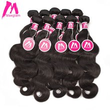Maxglam Wholesale 10Pcs/Lot Brazilian Virgin Hair Weave Bundles Unprocessed Body Wave Human Hair Bundles Free Shipping(China)