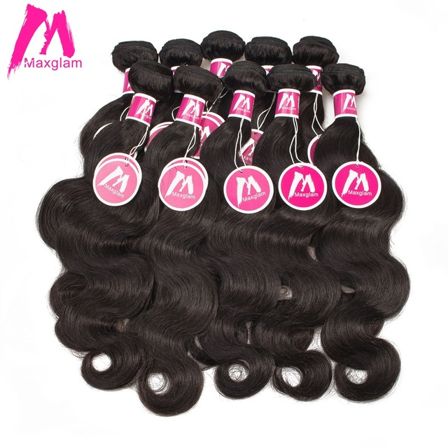 Maxglam Wholesale 10pcslot Brazilian Virgin Hair Weave Bundles