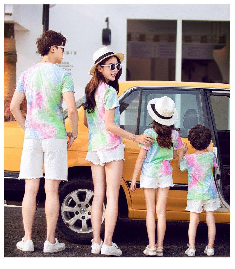 Famille correspondant vêtements été famille Look mère fille père papa fils T-shirt coton maman et moi vêtements t-shirts tenues 4