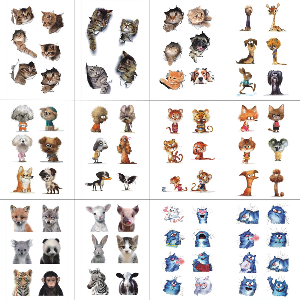 HXMAN 12 PCS Cat Dog Animals Temporary Tattoo Sticker For Women Men Body Art Children Kids Hand Fake Tatoo 9.8X6cm W12-40
