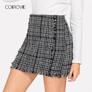 COLROVIE Frayed Trim Tweed Office Korean Plaid Skirt Women 2018 Autumn Elegant Sexy Mini Skirts Female Bodycon Winter Skirts(China)