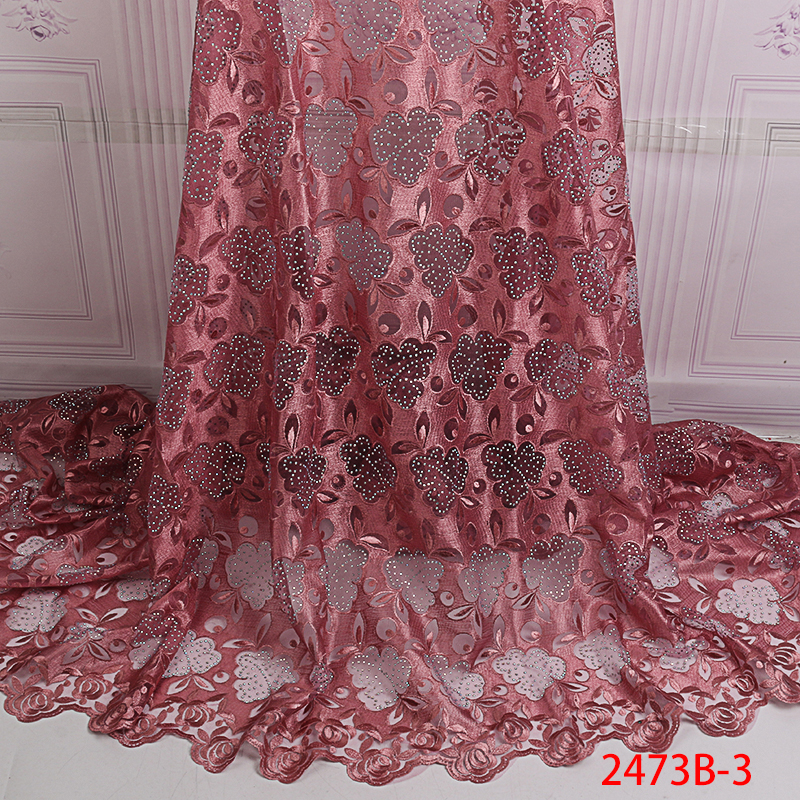 High Quality 2019 African French Net Lace Fabric with Stones French Tulle Lace Embroidery Lace Material