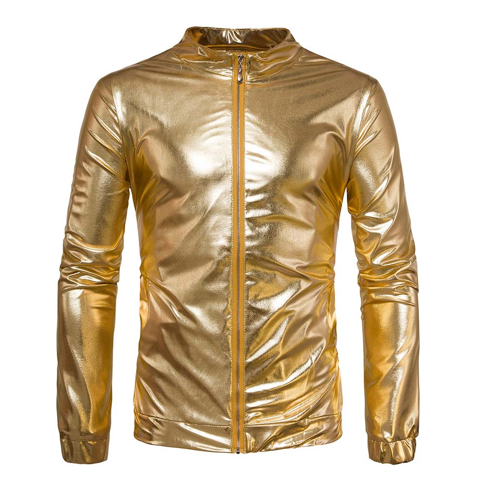 Fashion Men Shiny Jacket Coated Metallic Hip Hop Jackets Night Club Wear Outerwear Coat -MX8