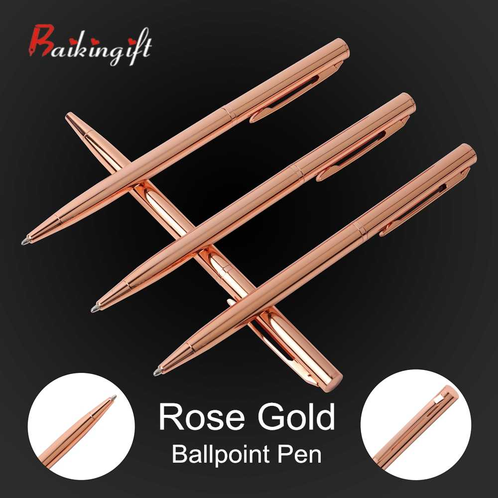 1PCS Rose Gold Ball-point Pen Metal Material Promotional Pen Stainless Steel Rod Rotating Metal Ball Pens For School Stationery
