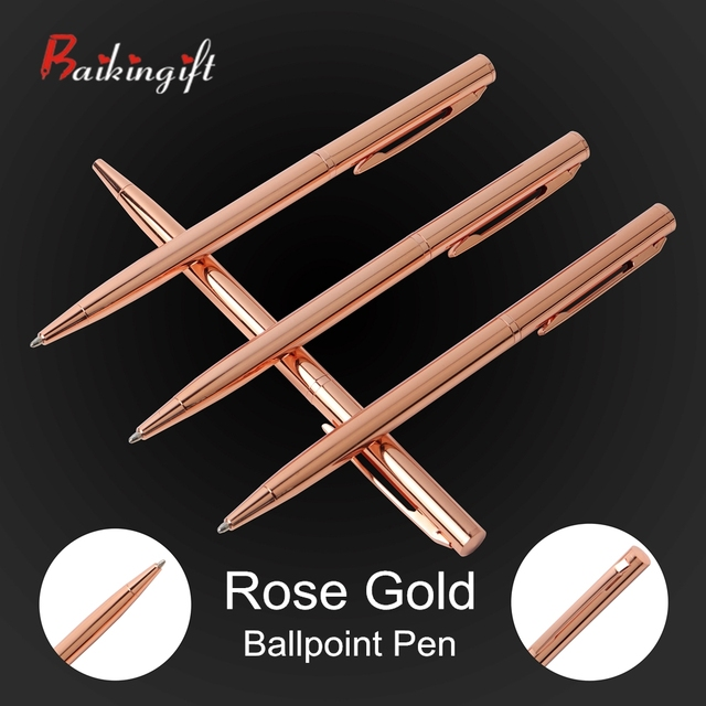 2PCS Rose Gold Ball-point Pen Metal Material Promotional Pen Stainless Steel Rod Rotating Metal Ball Pens For School Stationery