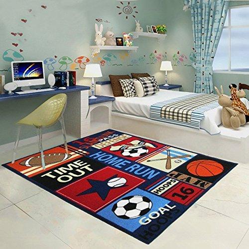 WINLIFE Balls Print Kids Rugs Cartoon Balls Boys Bedroom Carpet ...