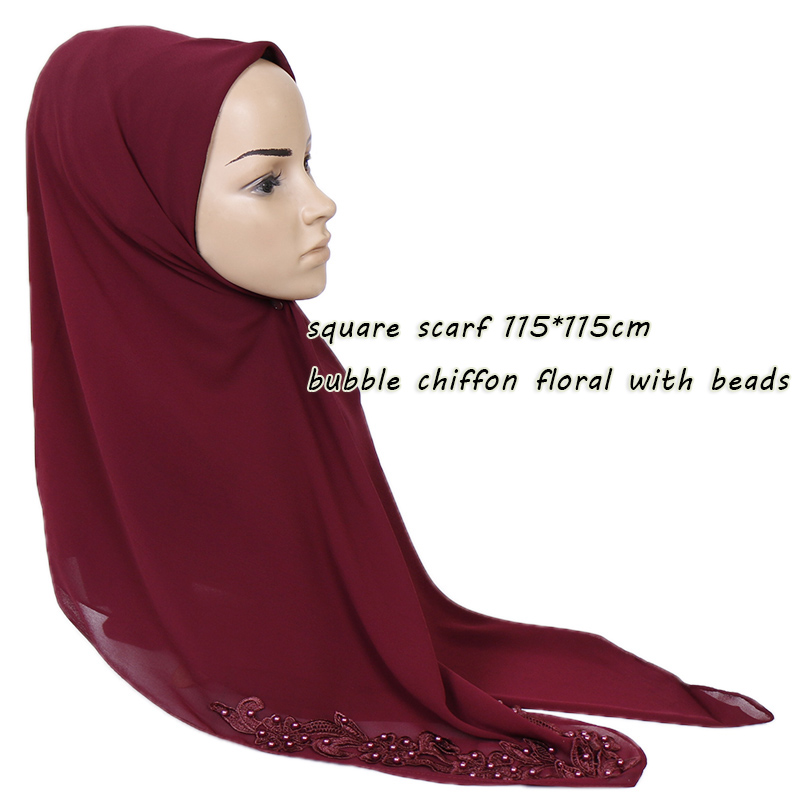 New Square Hijab Scarf Women Bubble Chiffon Floral With Beads Shawl Solid Headband Muslim Scarves And Wrap 115*115cm 20pcs/lot