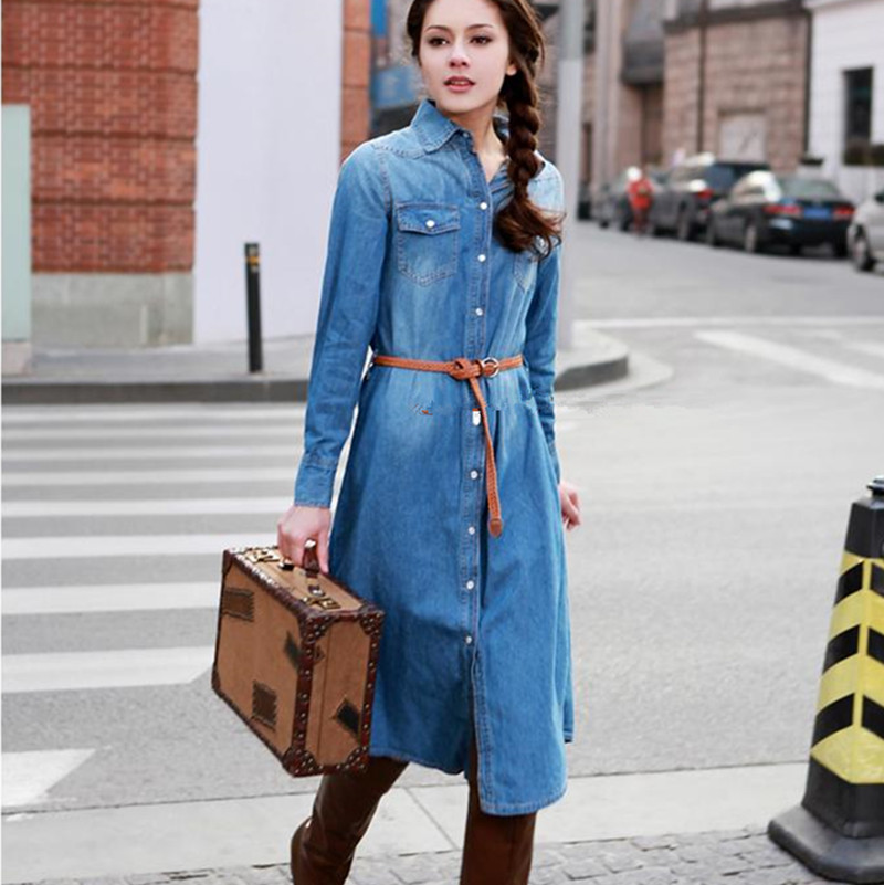 baa8e408542 Free Shipping 2016 New Turn-down Collar High Street Denim Dresses With Long- sleeve For Women Spring Fashion Mid-calf Dresses L