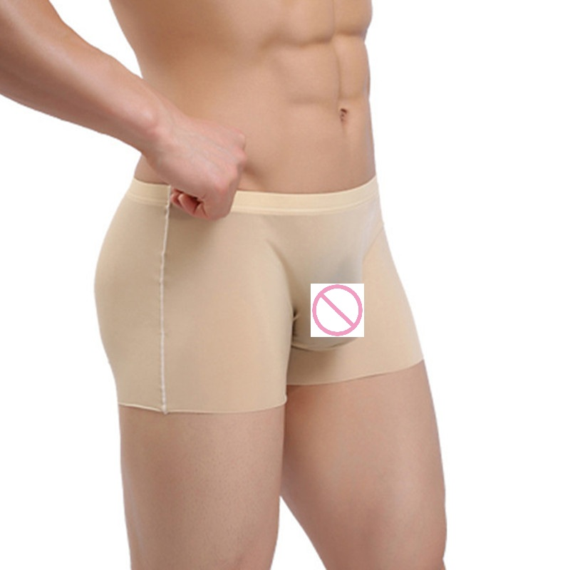 Low Rise Sexy Men Transparen Boxer Seamless Smooth Breathable U Convex Pouch Boxer Underwear Gay Wear Ice Silk Mens G-string M7