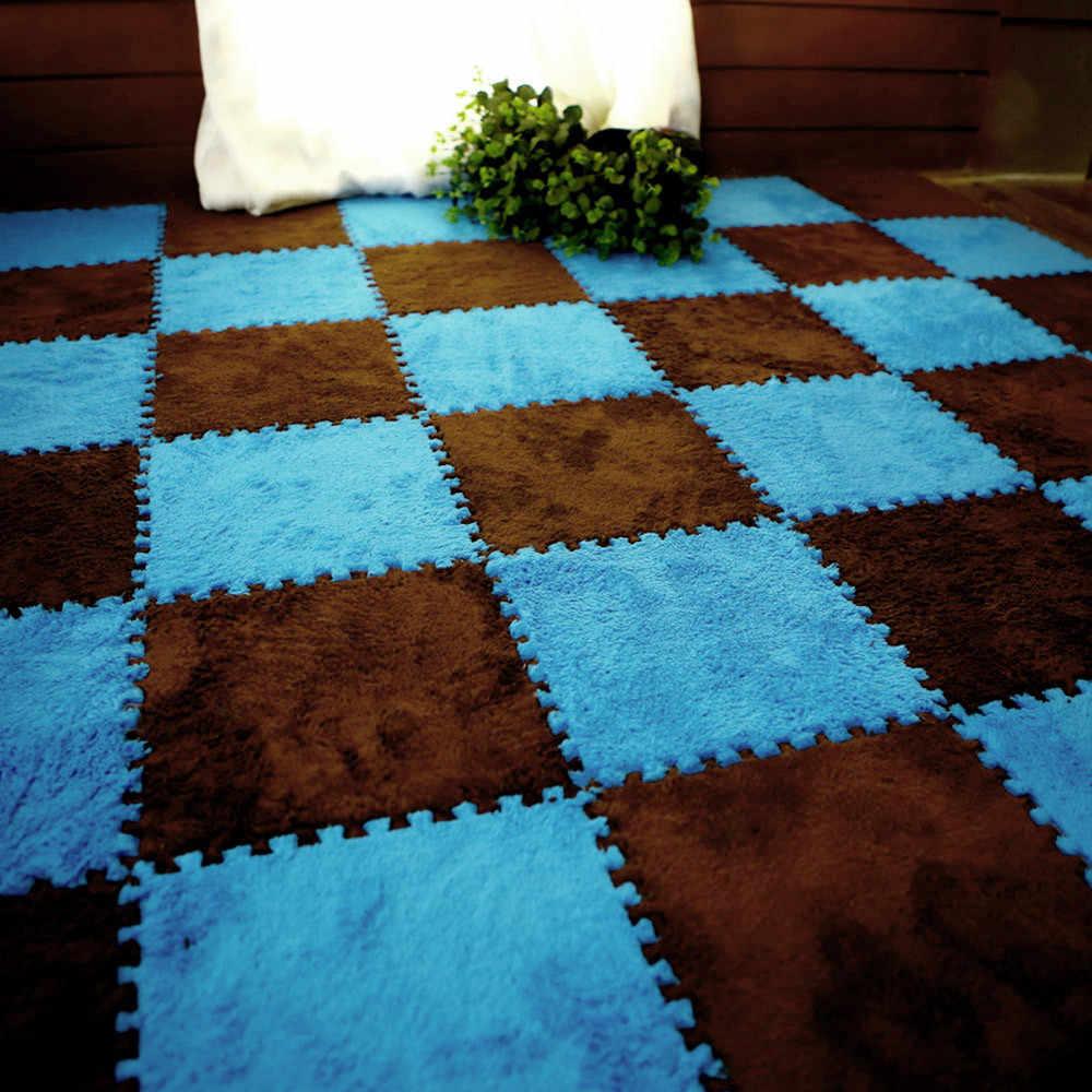 25 × 25 センチメートルソフトリビングルームのためのヨーロッパホーム暖かいぬいぐるみ床の敷物 7 色マットキッズルームのどの毛皮ラグマットリビングルームマット 21
