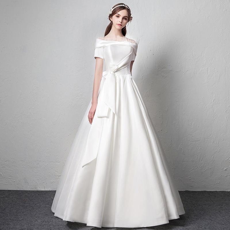 Satin Wedding Dress 2019: Satin Wedding Dress 2019 Bridal Gown Robe Mariee Princesse