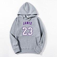 Hot 2019 New JAMES 23 Letter Print Sweatshirt Men Hoodies Fashion Solid Hoody Men Pullover Mens Tracksuits Male Coat недорого