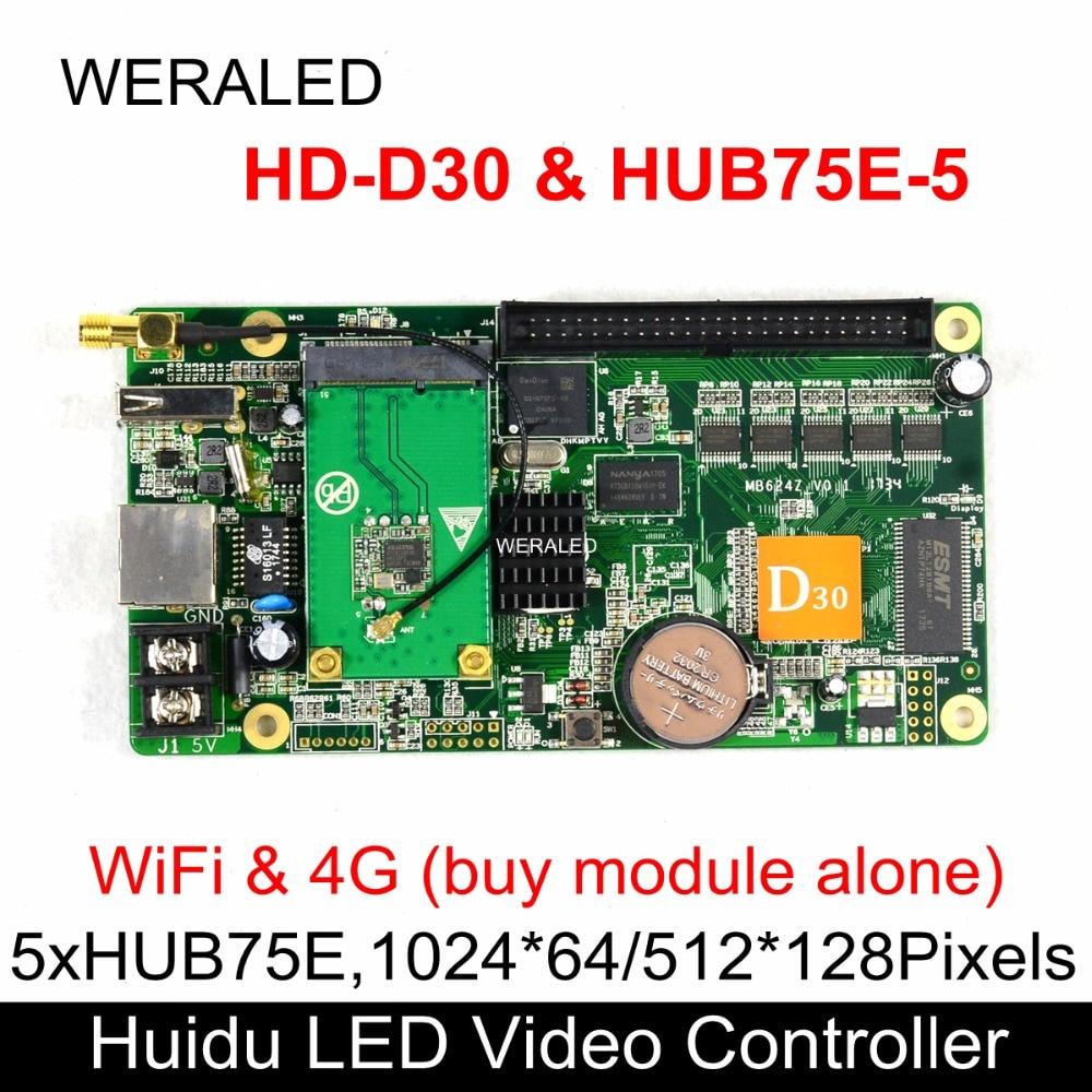 Huidu Asynchronization HD-D30 e HUB75E-5 Colore Completo HA CONDOTTO il Video Controller di 1024*64 pixel di Lavoro con P2.5 P3 P4 P5 p6 P7.62 P8 P10Huidu Asynchronization HD-D30 e HUB75E-5 Colore Completo HA CONDOTTO il Video Controller di 1024*64 pixel di Lavoro con P2.5 P3 P4 P5 p6 P7.62 P8 P10