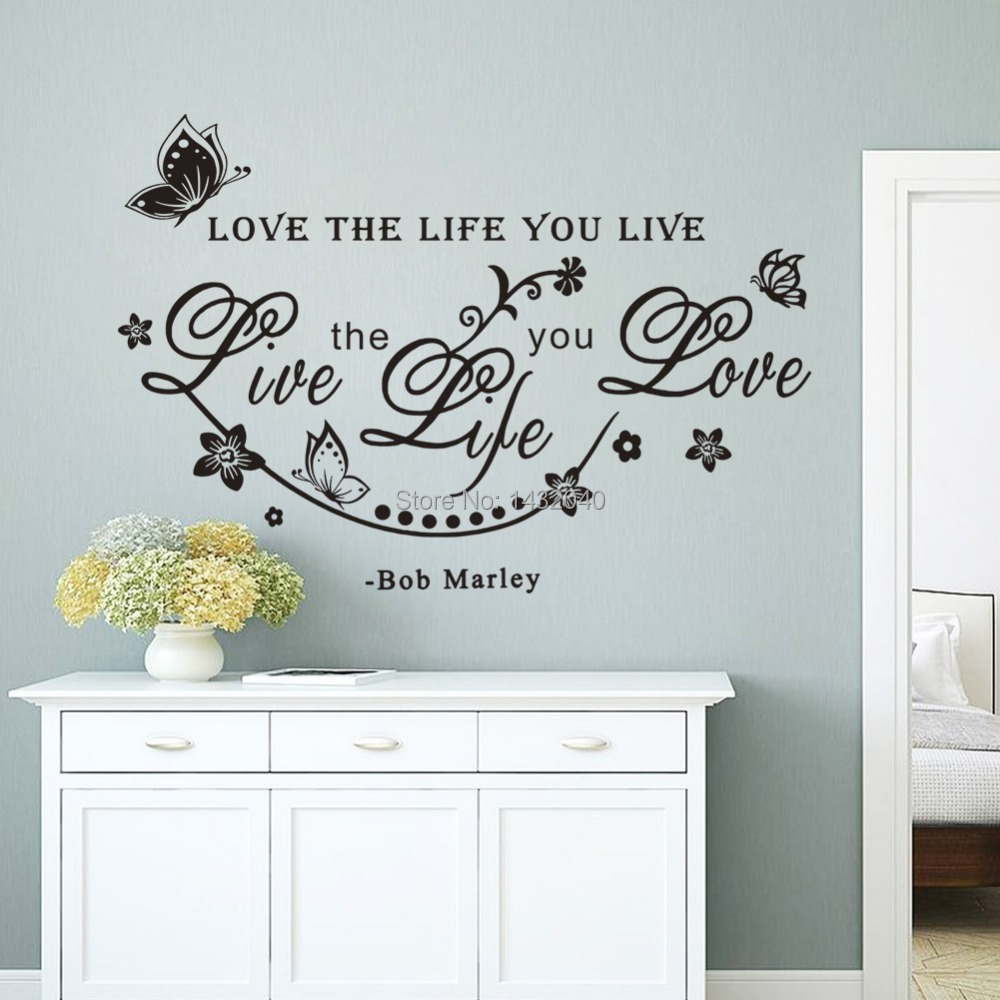 Wall sticker quotes love the life you live vinyl art home for Stickers de pared