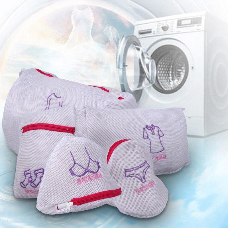 Fashion Zippered Mesh Laundry Wash Bags Foldable Delicates Lingerie Bra Socks Underwear Washing Machine Clothes Protection Net