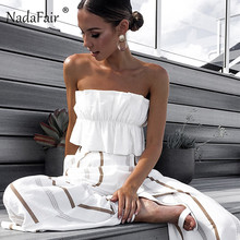 509fcbcbf6 Nadafair ruffles summer crop tops women ruched backless lace up strapless  sexy club tops 2019 women