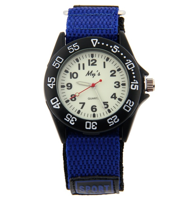 Children Luminous Quartz Watch with Rotatable Bezel Round Dial Nylon Band Men Wo