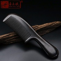 TOP END Authentic Natural high quality Round handle whole wood ebony comb Boutique hair care comb ACH 019