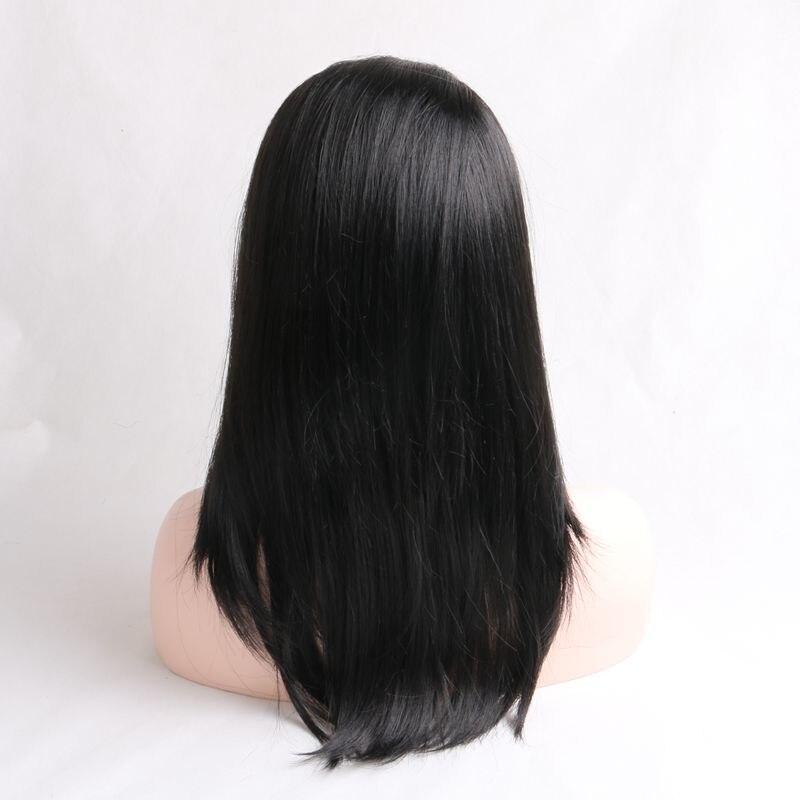Роскошные для плетения 20 дюймов Kanekalon натуральный черный прямо Синтетический Frontal шнурка волос Искусственные Парики Бесплатная Регулируем...