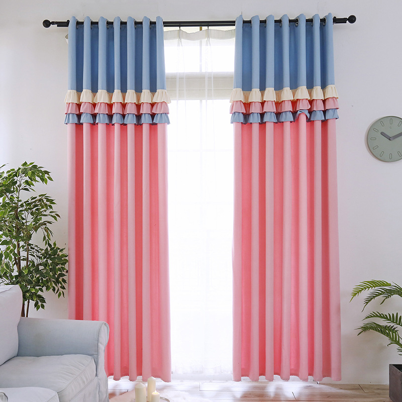 Sweetheart Princess Style Blackout Curtain For Kids Room Girl Room Cute Blue/Pink Lace Stitching Curtain For Living Room Curtain