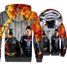 Superman batman jackets funny 3D printed hoodies male casual wool liner tracksuits homme superhero 2018 winter thicken coats men