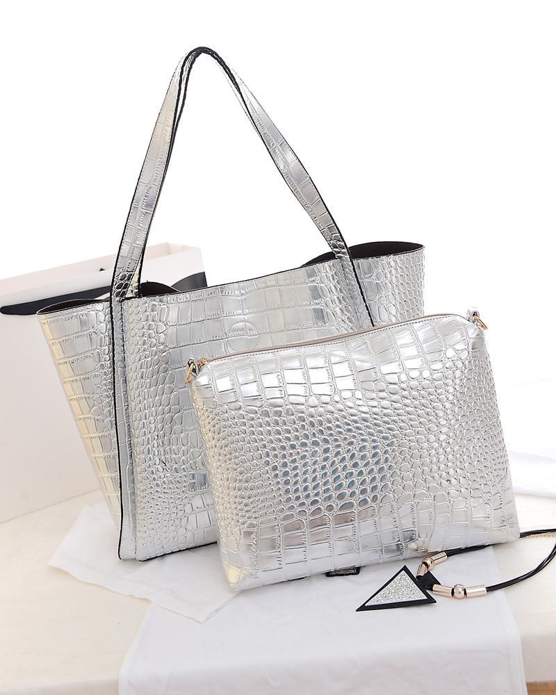 metal color women pu leather handbags gold silver large tote shoulder bags fashion lash package composite - Sac A Main Color