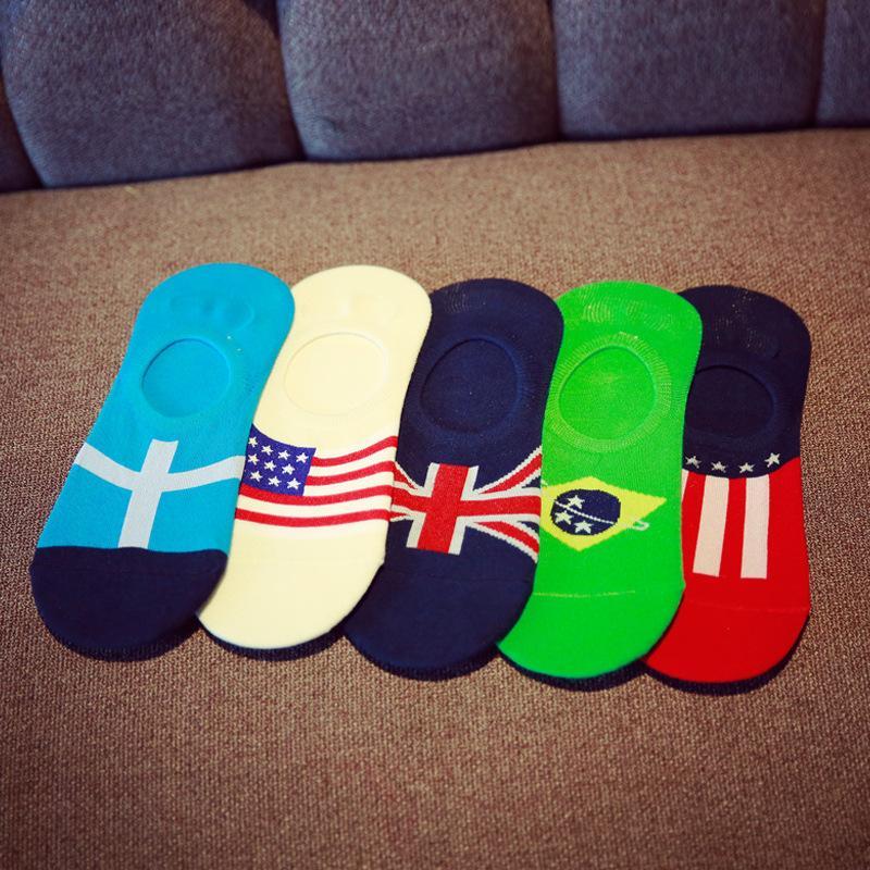 10 Pieces = 5 Pasang Musim Semi Musim Panas Inggris Bendera Happy Pendek Harajuku Katun Sandal Pria Lucu Warna-warni Tak Terlihat Kaus Kaki Pria jalanan-Internasional