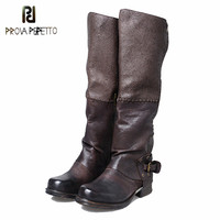 Prova Perfetto Manufacture For Cool Girl Knight Boots Crack Mixed Color Full Cow Leather Flat Neutral Knee Boots Large Size