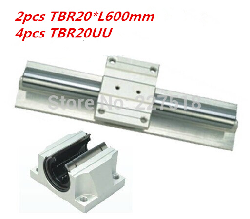 Support Linear rails Assemblies 2pcs TBR20 -600mm with 4pcs TBR16UU Bearing blocks for CNC Router