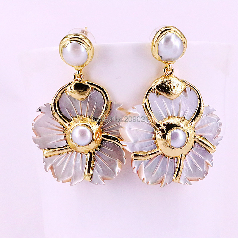 3Pairs White Shell Carved Flower Design Woman's Jewelry Earrings Metal Plated Gold Natural shell dangle Earrings yoursfs dangle earrings with long chain austria crystal jewelry gift 18k rose gold plated