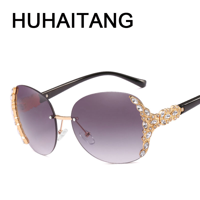 HUHAITANG Newest Luxury Sunglasses Women Vintage Noble Diamond Frameless Oversized Frame Sun Glasses UV400 High Quality Eyewear
