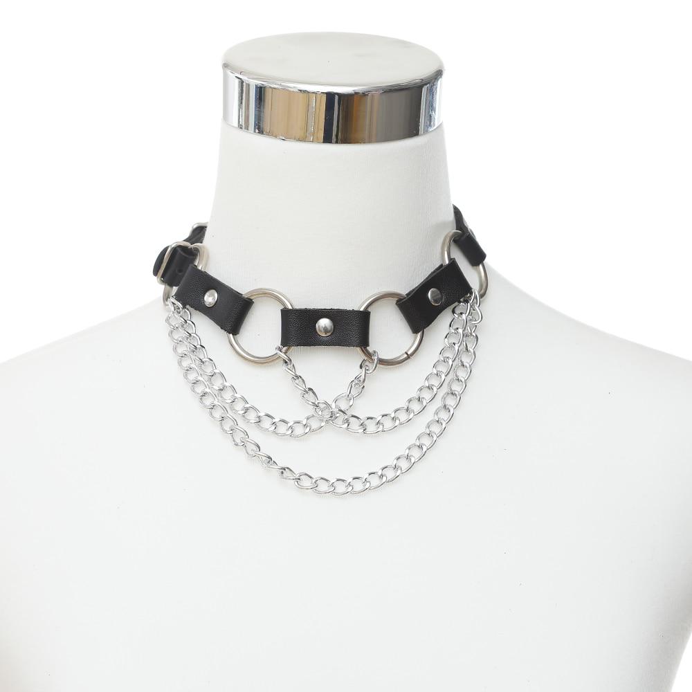 BLACK Punk Emo Goth Harajuku O RING Leather Collar Choker Necklace New Gothic