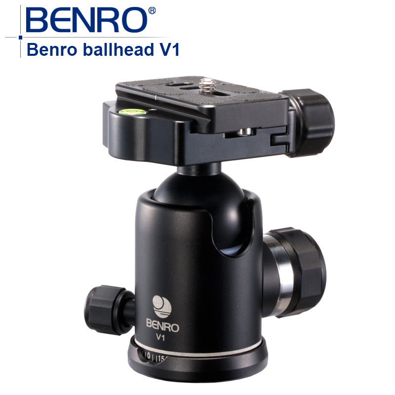 Benro V Series ballhead V1 Professional Magnesium Alloy ball heads Quick Release For Camera Tripod weight 0.42kg Max Load 20kg benro s2 pro video heads aluminum hydraulic head for video tripod qr4 quick release system max load 2 5kg free shipping