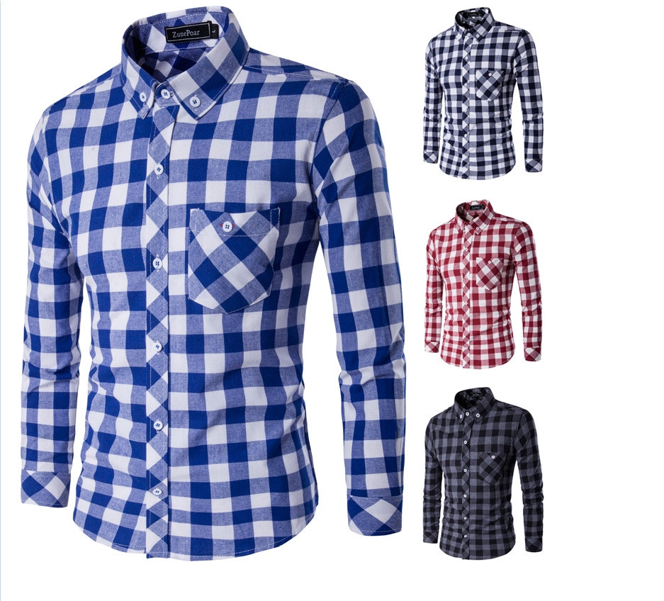 Brand New font b Men s b font Casual font b Shirt b font Social Plaid