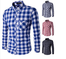 Brand New Men's Casual Shirt Social Plaid Shirt Full Sleeve Turn Down Collar