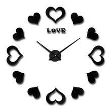 ФОТО 2017 sticker decorative wall clocks modern design decoration home 3d wall clock new large wall clock wedding gift free shipping