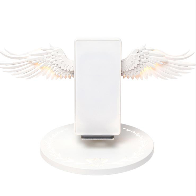 Art - 10W Wireless Charger Angel Wings Night Light Mobile Phone Wireless Charger for Android Apple USB Fast Charge with Night Light