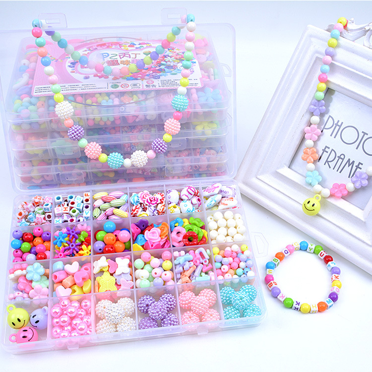 Hot Diy beads for children toys educational handmade crafts puzzle for kids beads DIY beaded woven bracelet kids toy with box