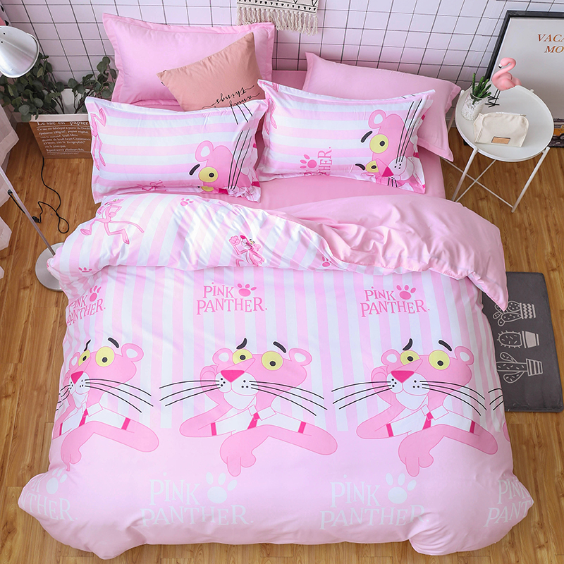 Cartoon Pink Panther Comforter Bedding Sets Polyester/Cotton Bedsheet Pillowcases&Duvet Cover Sets Twin Full Queen King Bedlinen
