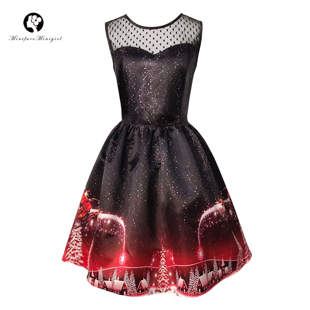 Christmas Dress Vintage Retro Women Sleeveless A Line Midi Vestidos De Fiesta 2017 Winter New Year