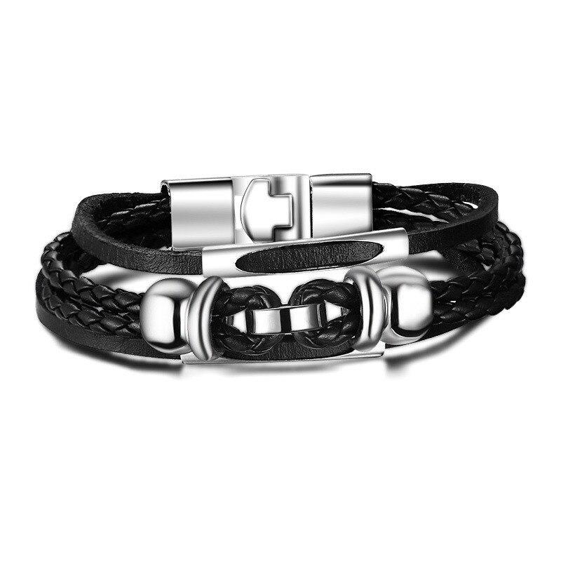 kinglionski jewelry Store Bracelets  Bangles Retro Foreign Trade Jewelry Tide Men's Alloy Bracelet Punk Wind Leather Bracelet 2015 New BL-053 Bracelet