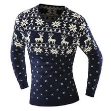 2016 frühling Herbst Männer Strickjacke Pullover pullover mit deer Pattern männlich V-ausschnitt Slim Fit Strick herren Pullover Strickwaren kerst tr