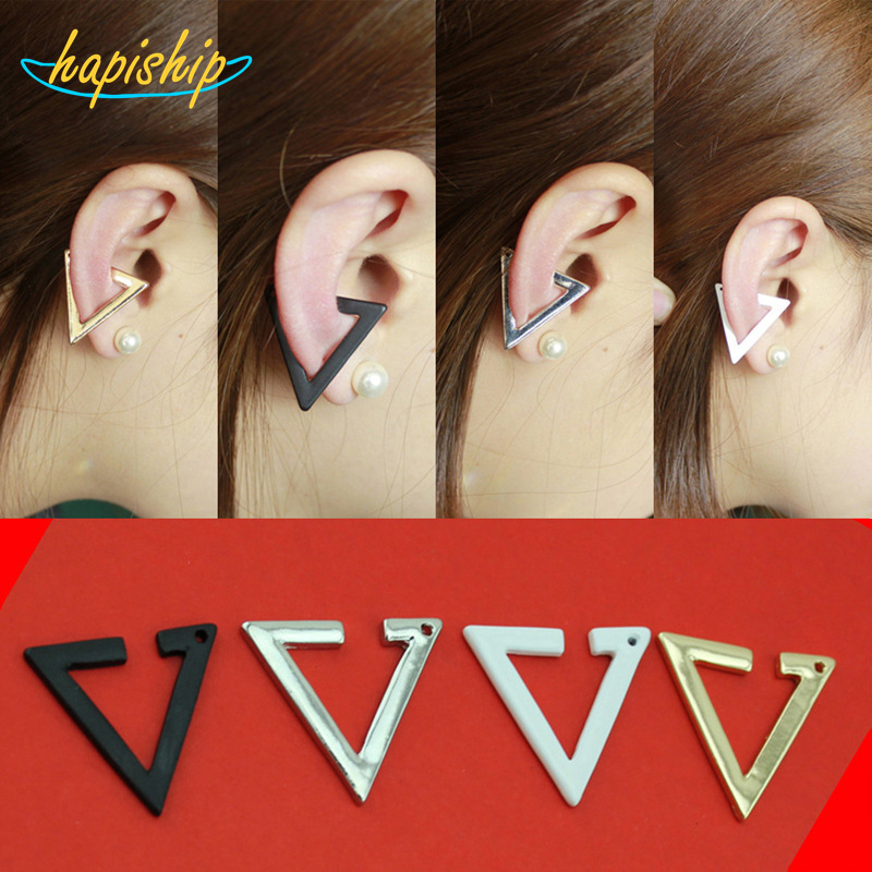 Hapiship 2017 New Hot Gold Silver Black White Triangle Star Clip Ear Cuff Earrings For Women Wedding Jewelry Earings AC95